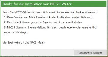 1. NFC21-Writer Software starten